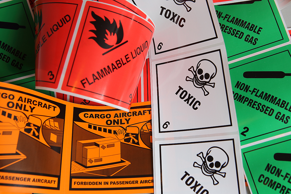 hazard warning diamonds hazardous goods labels