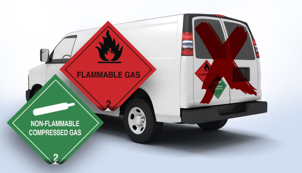 Hazardous goods labels on vans