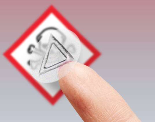 tactile triangle warning label