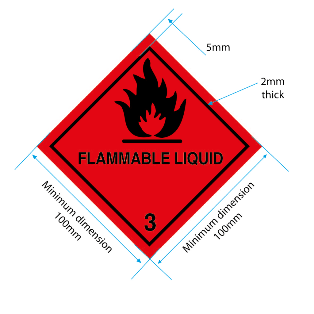 flammable liquid label class 3 label 100mm specs