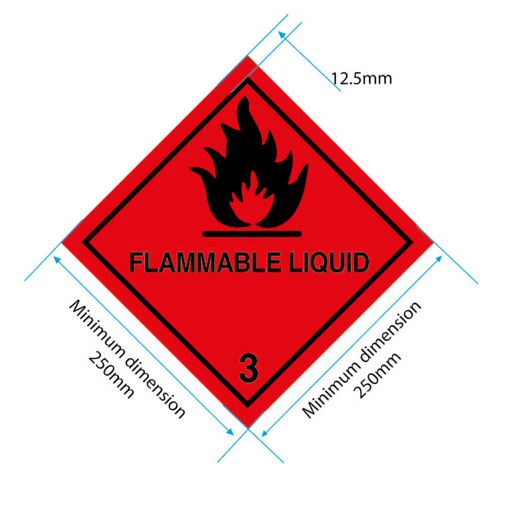 flammable liquid placard class 3 label 250mm specs