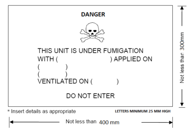 Fumigation Warning Sign specs image