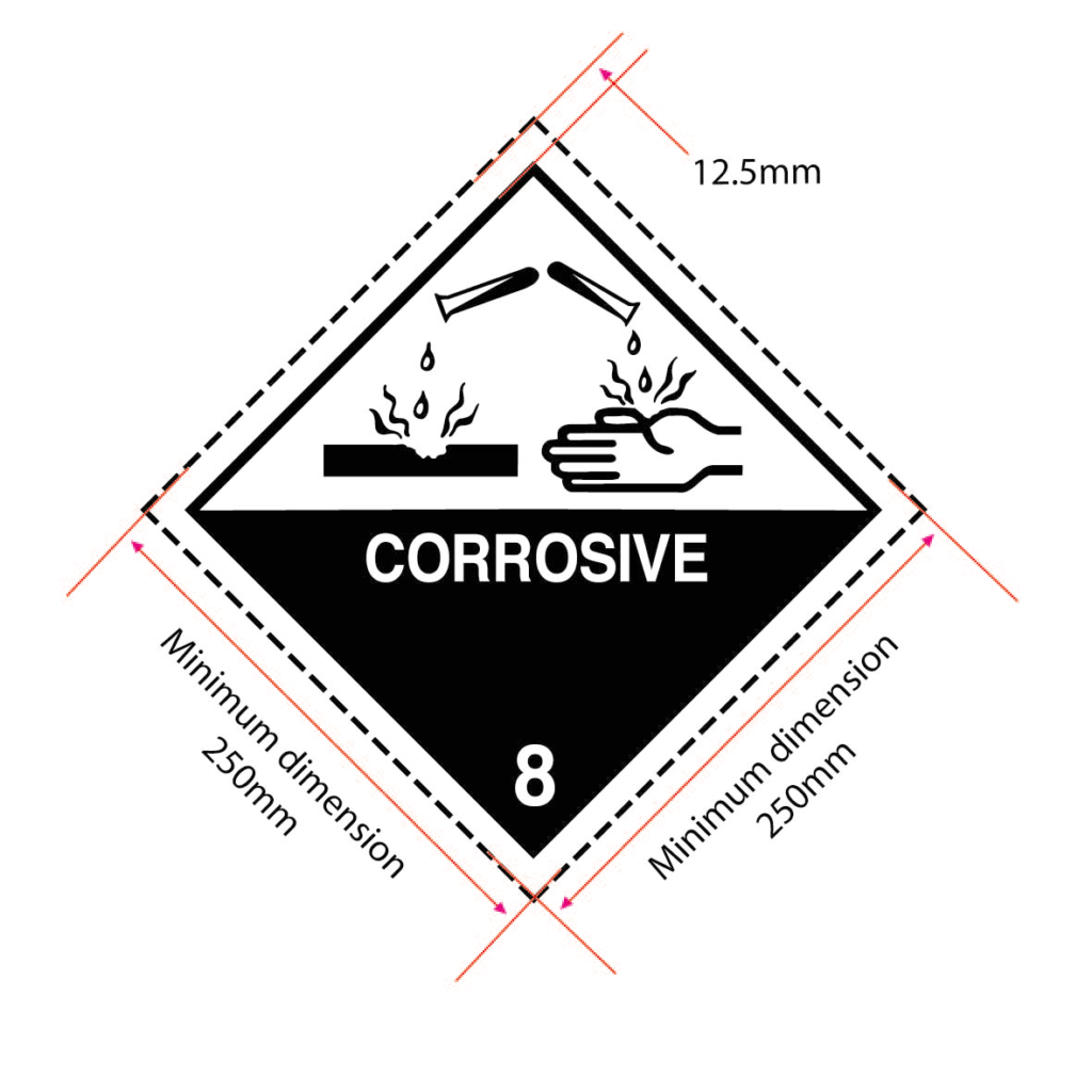 class 8 placard, corrosive placard specifications