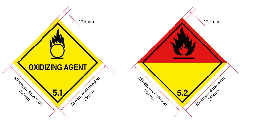 class 5 placard dimensions