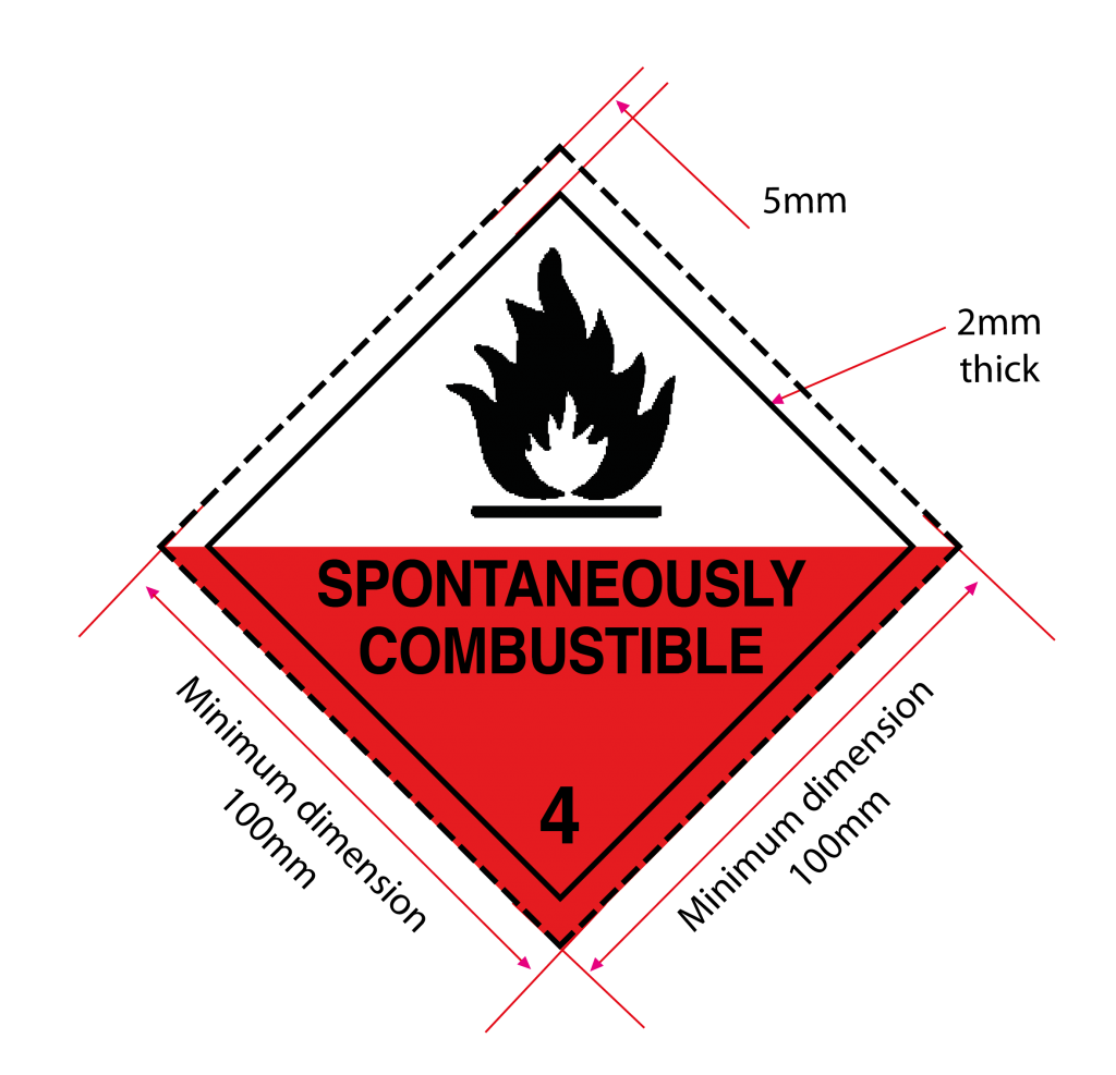 class 4.2 label, spontaneously combustible label