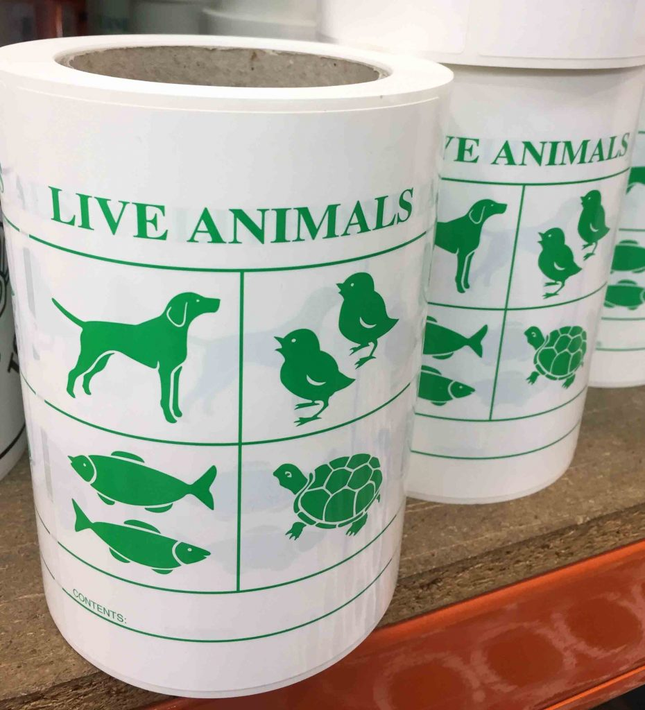 Live Animal Label - Buy Directly Online from Hibiscus Plc