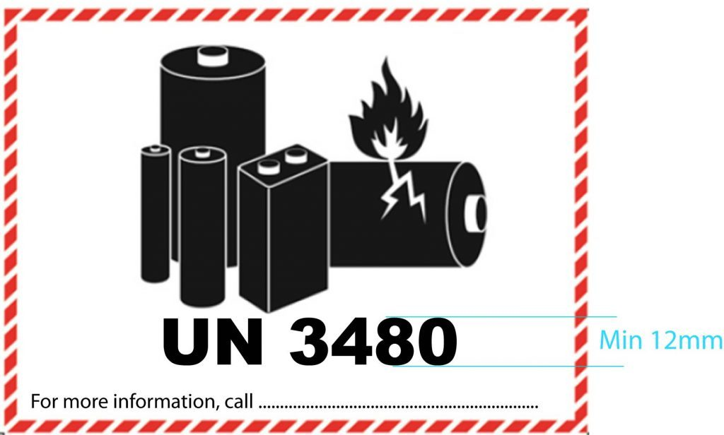 lithium battery label12mm high text