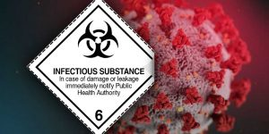 infectious substance label corona
